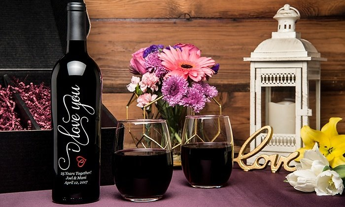 57% Off Etched Bottle of Wine and Two Stemless Wine Glasses