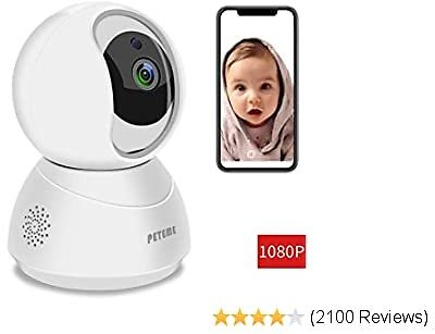 Peteme Baby Monitor 1080P FHD Home WiFi Security Camera Sound/Motion Detection with Night Vision