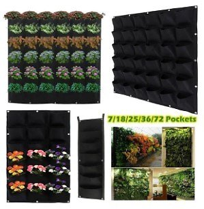 Willstar 36 Pockets Planting Bags Wall Hanging Gardening Outdoor Indoor Growing Pots Plant Pouch Hanging Flower Bags (100x100cm)