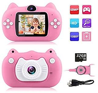 Kids Camera Digital Dual Lens Video Cameras for Children Toys Camcorder with 2 Inch IPS Screen 12MP 1080P HD Toddler Cameras Great Gifts for Kids 3-10 Year Old Boys Girls with 32GB Memory Card Pink