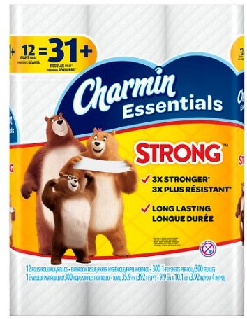 12Ct Charmin Strong 1-Ply Toilet Paper