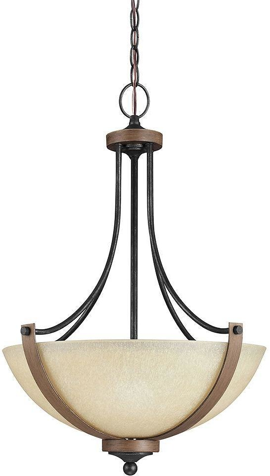 Today Only! Sea Gull Lighting Corbeille 19 In. W. 3-Light Weathered Gray and Distressed Oak Pendant + F/S