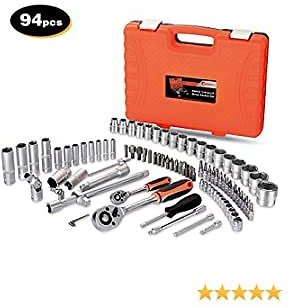 """GoodTend MORWELL 1/4""""and 1/2""""Socket Wrench Set, 94 Pieces Mechanics Tool Set with Ratchets,Universal Joint, Extensions 6-Point Socket Set with Blow Molded Case, Orange"""