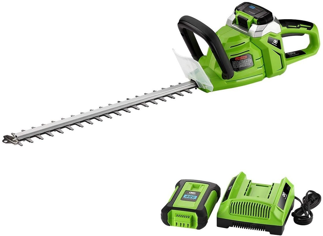 Best Partner 40Volt Max High Performance Cordless Hedge Trimmer 20Inch 2AH Battery and Charger - United States Green