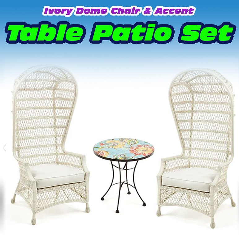Ivory Dome Chair & Accent Table Patio Set