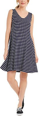 Style & Co Striped Crossback Flared Dress, Created for Macy's & Reviews - Dresses - Women