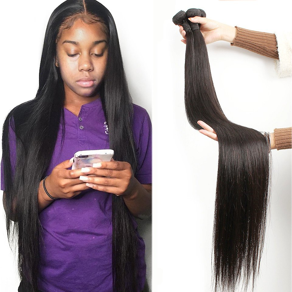 Straight Hair Bundles 100% Natural Human Hair 1 3 4 Bundles Double Wefts Thick Remy Hair