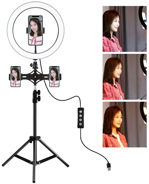 PULUZ PKT3057B 11.8 Inch 30cm LED Ring Light for Vlogging Video Live Broadcast Three-level Adjustment Fill Light with 110cm Tripod Mount with Dual Phone Bracket