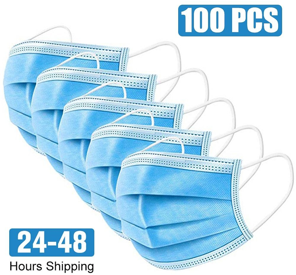 100pcs Disposable Facemask Nonwoven 3 Layer Ply Filter Mouth Face Masker Breathable Bacteria Proof Adult Kid Protective Maskes