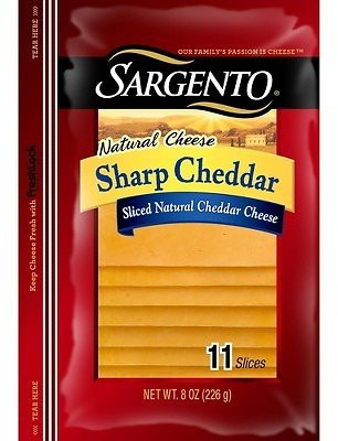 Only For $2.89/Free Shipping/Natural Sharp Cheddar Deli Style Sliced Cheese - 8oz