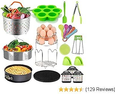Pressure Cooker Accessories Set - Fit Instant Pot 6 Qt 8 Quart, Include Steamer Baskets, Stackable Egg Steamer Rack, Springform Pan, Egg Bites Mold, Oven Mitts and More Instapot Accessory