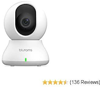 Blurams Indoor Security Camera PTZ 1080p, WiFi Dome Camera Pet/Nanny Camera Baby Monitor W/Two-Way Audio | Sound/Person Detection | IR Night Vision | Cloud&Local Storage | Works with Alexa
