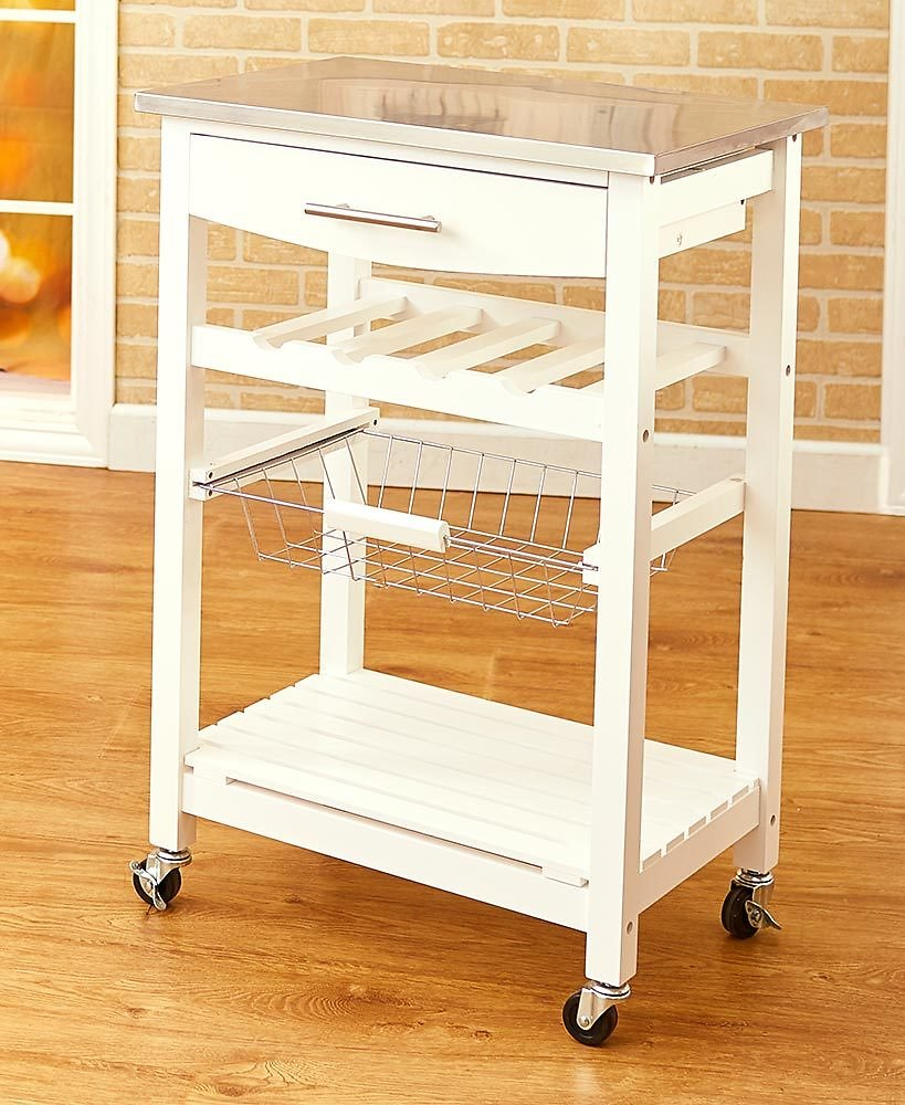 Conway Solid Wood Rolling Kitchen Carts