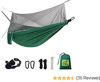 MIZTLI 【Upgraded Hammock Camping with Mosquito Net. One Line Bug Net Design Indoor/Outdoor Hammock with Tree Straps. Fast & Easy Assembly. Perfect for Camping, Backpacking, Travel, Hiking.