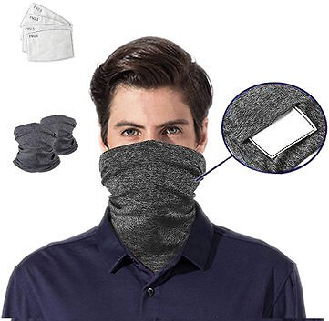 Outdoor Dustproof Breathable Sport Head Scarves Face Mask With 5 Filter Pads