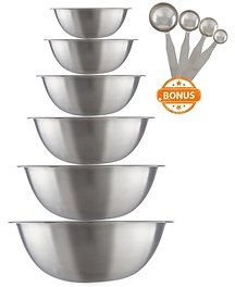 Stainless Steel Mixing Bowl Set with Measuring Spoons (10-Piece)