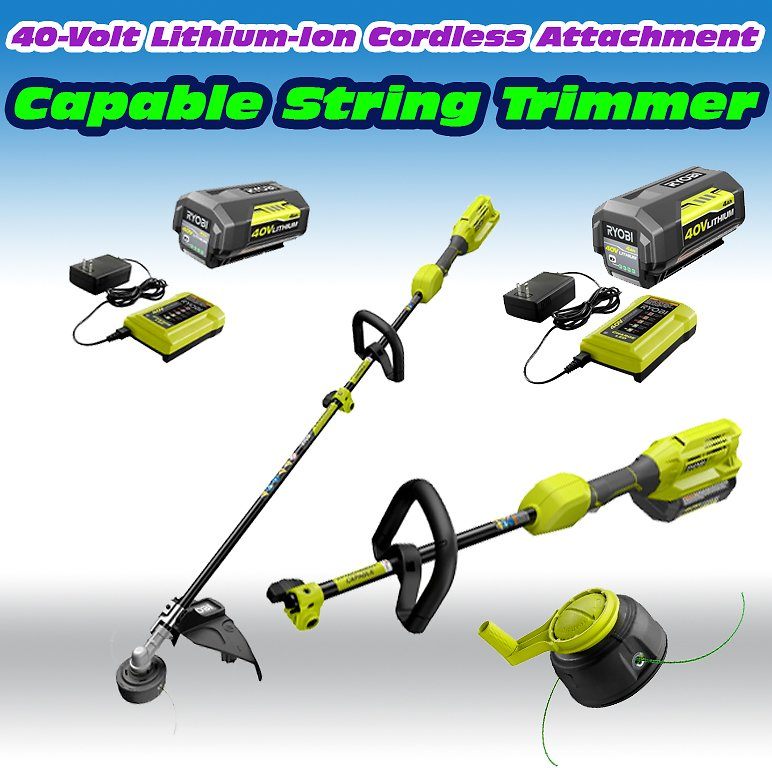 RYOBI 40-Volt Lithium-Ion Cordless Attachment Capable String Trimmer with 4.0 Ah Battery and Charger Included-RY40250