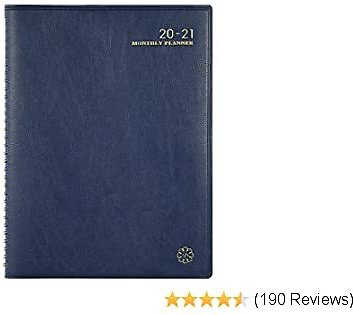 2020-2021 Monthly Planner/Calendar - 18 Month Planner with Tabs, Faux Leather Calendar Planners, Twin-Wire Binding and Double Side Clear Inner Pocket 9