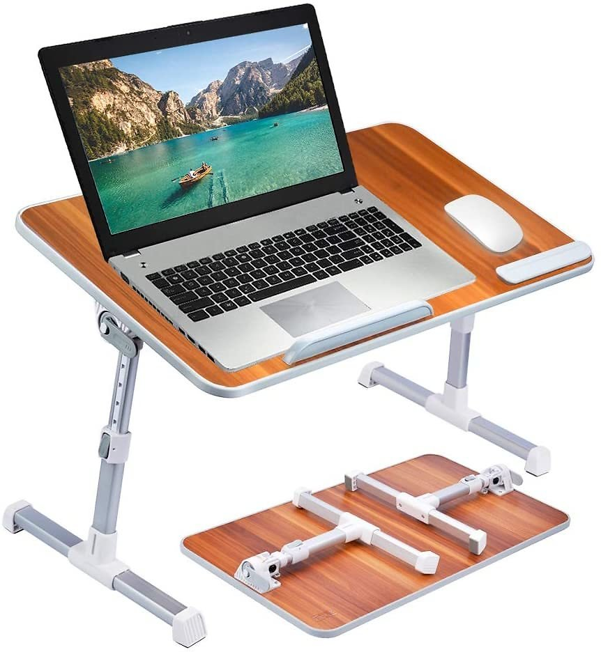 Neetto Height Adjustable Laptop Bed Desk, Portable Laptop Table Standing Desk - American Cherry