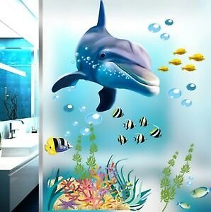Free Shipping /Dolphin Fish Aquarium Ocean Wall Stickers For Kids Rooms Bathroom Kitchen Home
