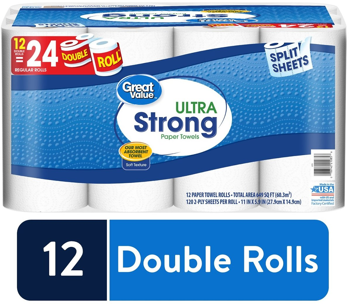 Great Value Ultra Strong Paper Towels, Split Sheets, 12 Double Rolls.