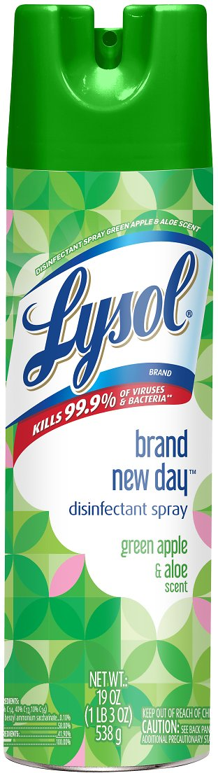 Lysol Disinfectant Spray, Brand New Day, Green Apple & Aloe, 19oz