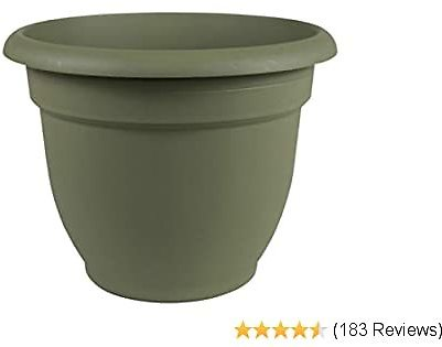 Fiskars 20-56408 8 Inch Ariana Planter with Self-Watering Grid, Thyme Green, 8
