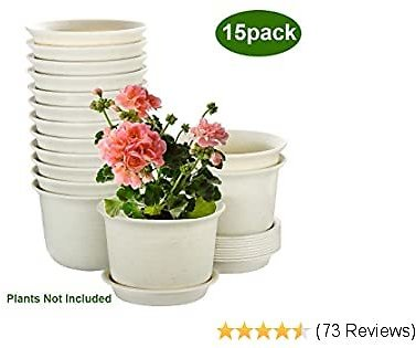 Plant Pots Indoor, ZOUTOG 6 Inch Plastic Planters with Drainage Hole and Tray, Pack of 15 - Plants Not Included, Beige
