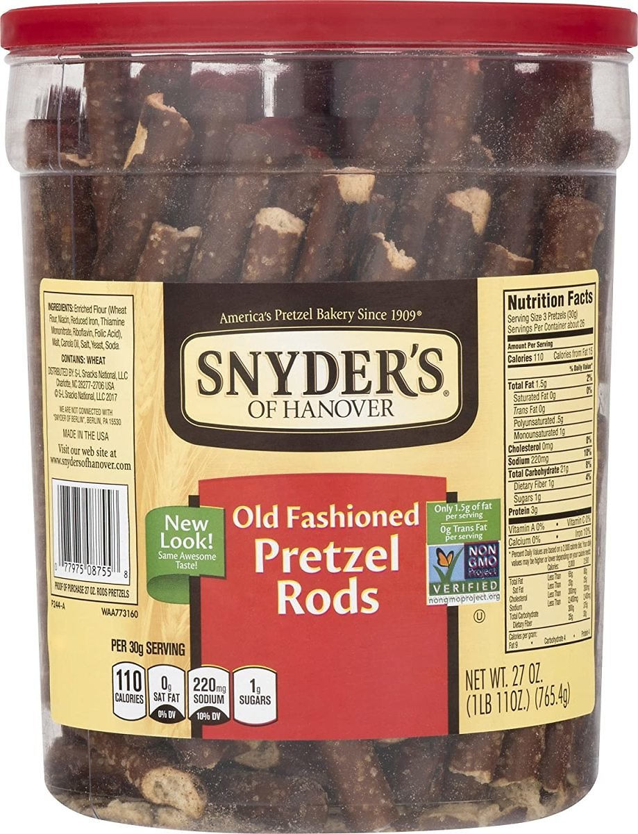 Snyder's of Hanover Pretzel Rods, Old Fashioned, 27 Ounce Canister