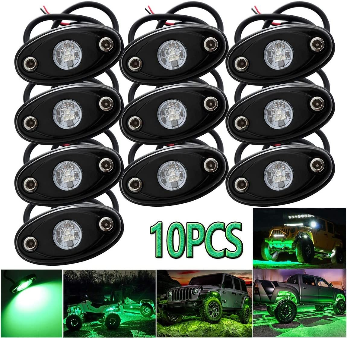LEDMIRCY LED Rock Lights Blue Kit for JEEP Off Road Truck ATV SUV Boat Car Auto High Power Underbody Glow Neon Trail Rig Lights