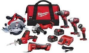 Milwaukee M18 18-Volt Lithium-Ion Cordless Combo Tool Kit (7-Tool) with Two 3.0 Ah Batteries, Charger and Tool Bag + F/S