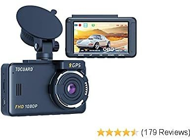 TOGUARD Dash Cam Built-in GPS 1080P Full HD Dash Camera for Cars Recorder 3'' LCD 170° Wide Angle Mini in Car Camera with G-Sensor, Loop Recording, Motion Detection, 24H Parking Monitor and HDR