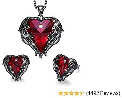 CDE Angel Wing Heart Necklaces and Earrings Mothers Day Jewelry Gifts 18K White Gold Plated Jewelry Set for Women Mom