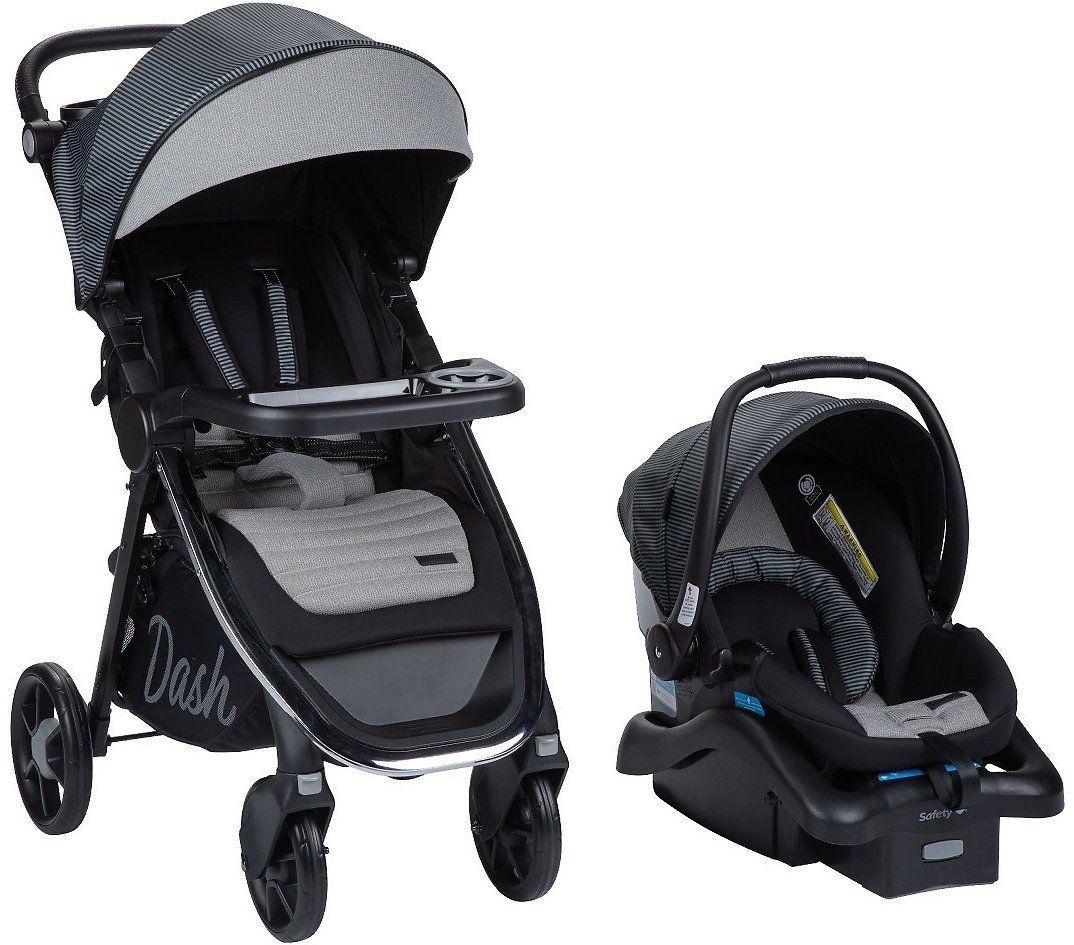 Monbebe Dash All in One Travel System, Gray and Black Pinstripe