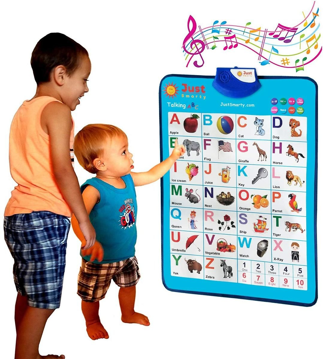 Just Smarty Electronic Interactive Alphabet Wall Chart, Talking ABC & 123s & Music Poster