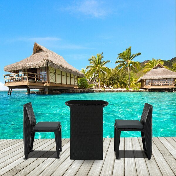 Mcombo Aluminum Wicker Rattan Patio Convention Bistro Set All Weather Outdoor Dining Set Glass Top Table Cushioned