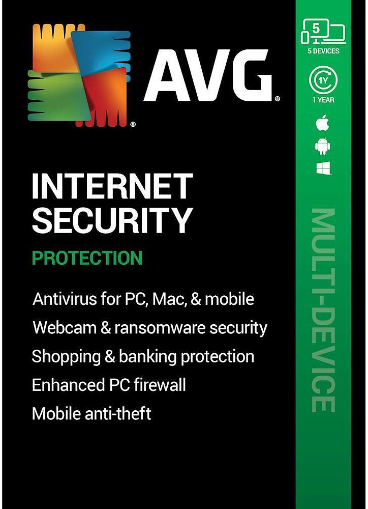 Save 85% AVG Internet Security (5 Devices) (1-Year Subscription) Android Mac Windows [Digital] AVG-IS20T12ENK-05