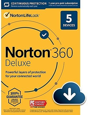 Norton 360 Deluxe for 5 Devices, Windows/Mac/Android/iOS