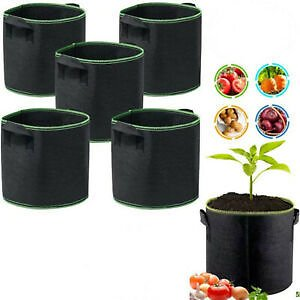 Details About 5 Pack Plant Grow Bags Tomato Potato Vegetable Planter Bag Pot Garden Supply
