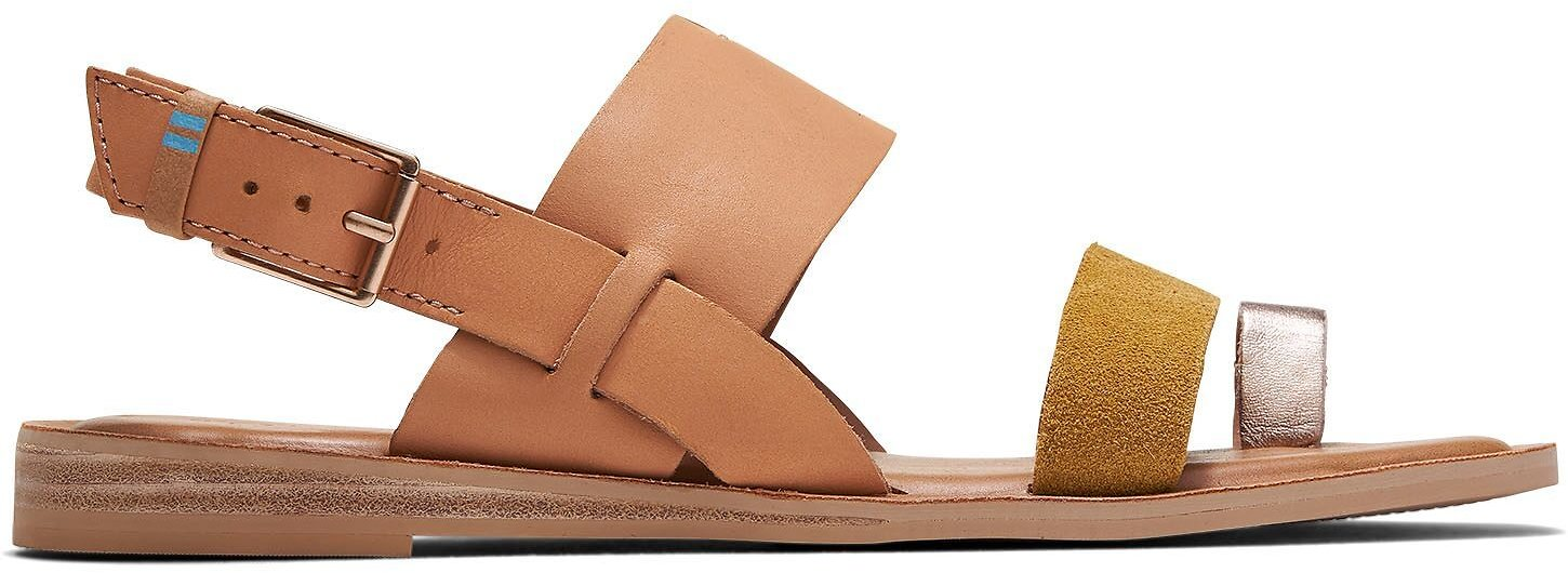 Honey Amber Gold Leather Suede Women's Freya Sandals