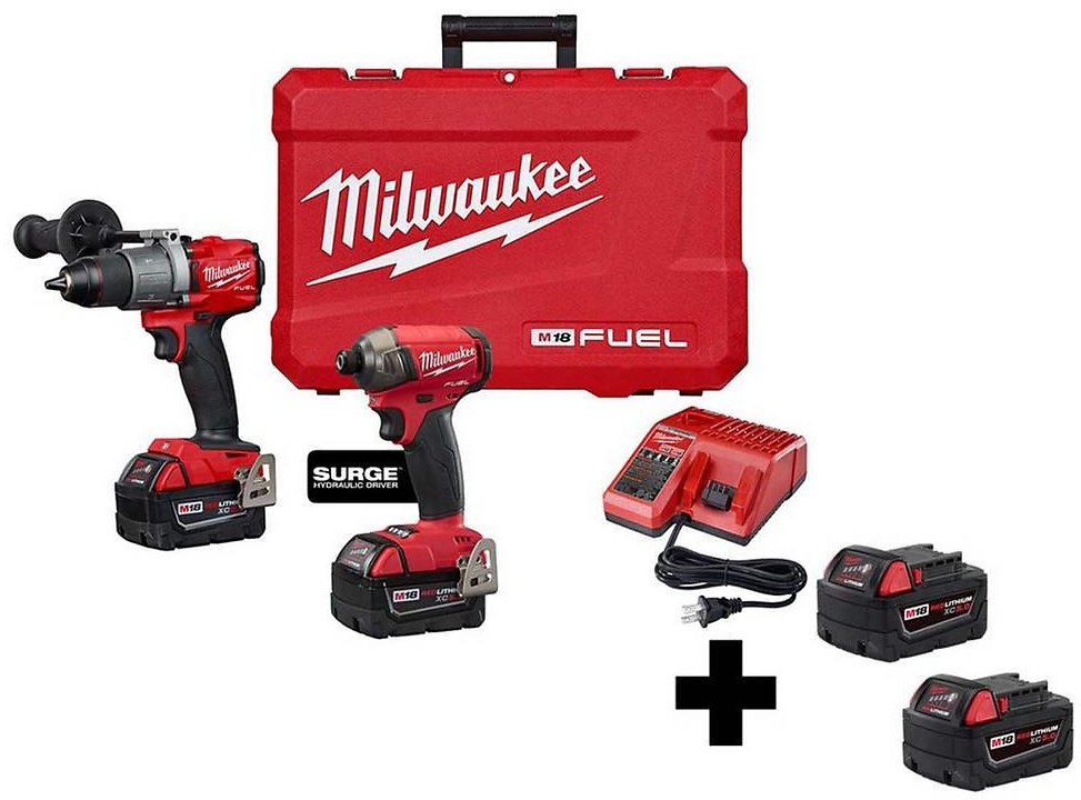 Milwaukee M18 FUEL 18-Volt Lithium-Ion Brushless Cordless Surge Impact/Hammer Drill Combo Kit with 2 Free 5.0 Ah Batteries-2999-22-48-11-1852