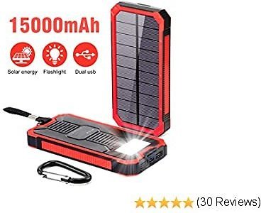 Solar Power Bank 15000mAh,Elzle Portable Power Bank,Solar Charger Solar Phone Charger, Fast Charger Dual USB External Battery Bank Pack with Compatible for Smartphones Tablet (red)