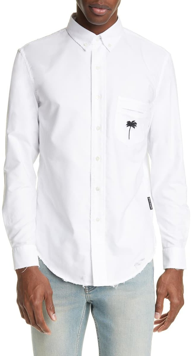 Palm Angels PXP Ripped Oxford Button-Down Shirt | Nordstrom