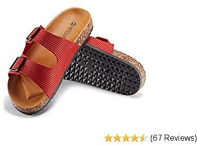 FITCLUSION Women Cork Slide Sandals Casual Flat Slippers Strap Buckle with Footbed Comfortable