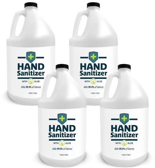 Hand Sanitizer with Aloe, Fragrance-Free, Case of 4 Gallons, 1 Pump Per Case