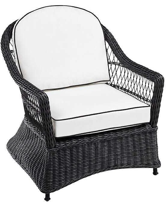 Black Wicker Chair with Cushions