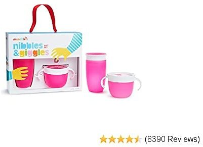 Munchkin Nibbles & Giggles Toddler Gift Set, Includes 10oz Miracle 360 Cup and Snack Catcher, Pink