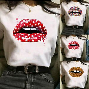 Women Lips Printed Short Sleeve T Shirt Ladies Casual Round Neck Blouse Tee Tops