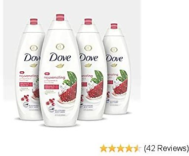 Dove Body Wash For Softer, Smoother Skin After Just One Use Rejuvenating Pomegranate and Hibiscus Tea Sulfate-Free Bodywash, 22 Fl Oz, Pack of 4