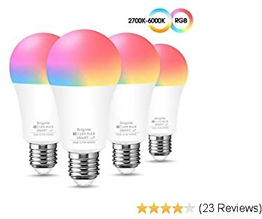 Smart LED WiFi Light Bulb, Briignite LED Smart Bulb 2700K-6000K RGB Color Changing, A19 E26 WiFi Dimmable LED Bulb 60W Equivalent, Works with Alexa, Google Assistant and Siri(No Hub Required), 4 Pack